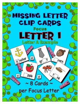Teaching by the Letter I Missing Letter Clip Cards for Preschool & Fine Motor