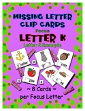 Teaching by the Letter K Missing Letter Clip Cards for Pre