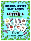 Teaching by the Letter L Missing Letter Clip Cards for Pre