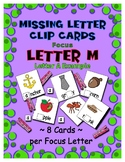 Teaching by the Letter M Missing Letter Clip Cards for Pre