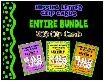 Teaching by the Letter Missing Letter Clip Cards - Entire Bundle - Prek