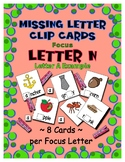 Teaching by the Letter N Missing Letter Clip Cards for Pre