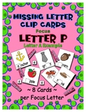 Teaching by the Letter P Missing Letter Clip Cards for Pre
