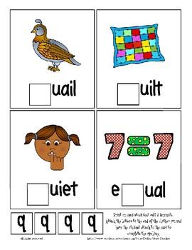 Teaching by the Letter Q Missing Letter Clip Cards for Preschool & Fine Motor