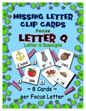Teaching by the Letter Q Missing Letter Clip Cards for Pre