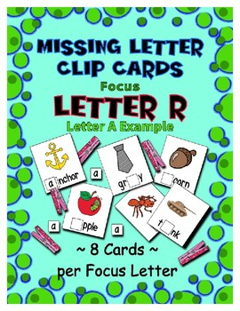 Teaching by the Letter R Missing Letter Clip Cards for Preschool & Fine Motor