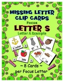 Teaching by the Letter S Missing Letter Clip Cards for Pre