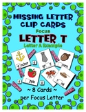 Teaching by the Letter T Missing Letter Clip Cards for Pre
