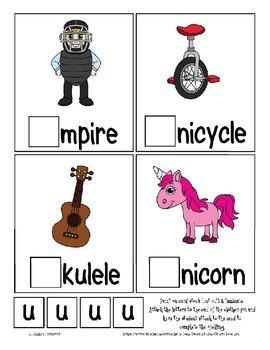 Teaching by the Letter U Missing Letter Clip Cards for Preschool & Fine Motor