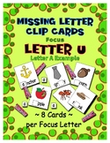 Teaching by the Letter U Missing Letter Clip Cards for Pre