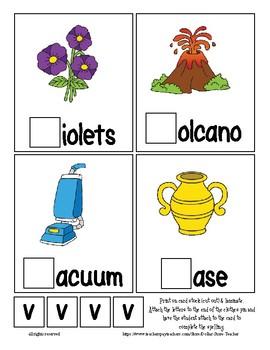 Teaching by the Letter V Missing Letter Clip Cards for Preschool & Fine Motor