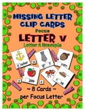 Teaching by the Letter V Missing Letter Clip Cards for Pre