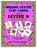 Teaching by the Letter W Missing Letter Clip Cards for Pre