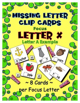 Teaching by the Letter X Missing Letter Clip Cards for Preschool & Fine Motor
