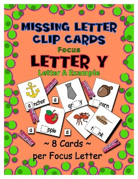 Teaching by the Letter Y Missing Letter Clip Cards for Preschool & Fine Motor