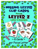 Teaching by the Letter Z Missing Letter Clip Cards for Pre