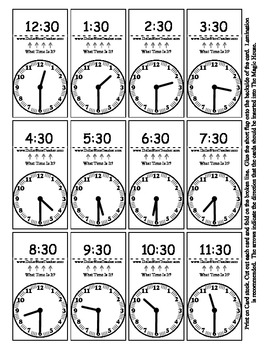 Teaching 'on the Hour' & 'Half Hour' Smart Chute Style Cards - Telling Time