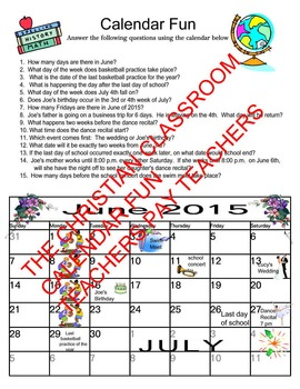 Teaching or Testing Calendar Skills Worksheet