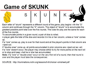 Mimio: Teaching probability with games-Skunk and Pass the Pigs