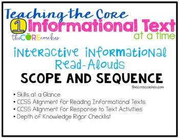 Teaching the Core, 1 Informational Text at a Time: Scope a