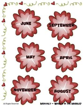 Teaching the Months - Which is in the Middle? - File Folder Reading Center
