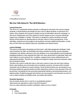Teaching the Presidential Election 2016