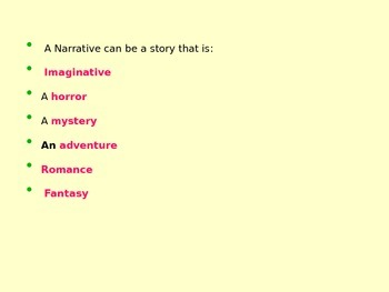 Teaching the structure of a narrative