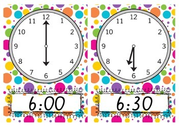 Teaching time to the hour and half hour, CLOCKS as posters or flashcards