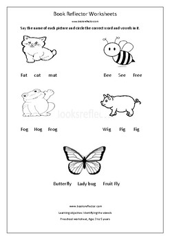 Teaching vowels for Kindergarten with the help of pictures.
