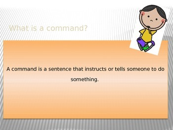 Teaching what a COMMAND is with a POWER POINT presentation. Common Core.