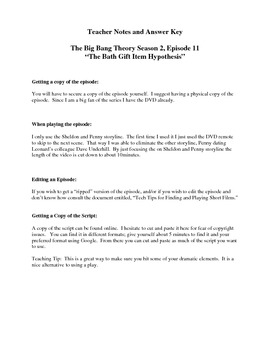 """Teaching with Films: The Big Bang Theory """"The Bath Gift Hypothesis"""""""