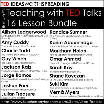 TED Talk 10 Lesson Pack (Talks by Sarah Kay, Jamie Oliver,