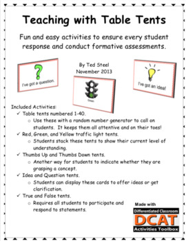 Teaching with Table Tents