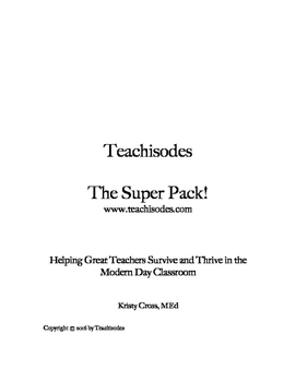 Teachisodes - Super Pack Worksheets for Rock Star Teachers!
