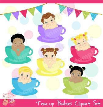 Teacup Tea Cup Babies Clipart Set