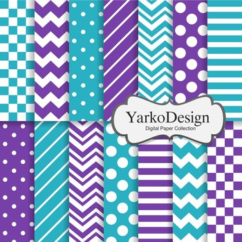 Teal And Purple Basic Geometric Digital Paper Set, 14 Digi