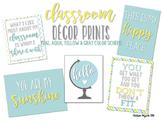 Teal, Aqua & Yellow Classroom Quote Mini Posters
