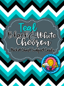 Teal Black & White Chevron Themed Pocket Chart Subject Schedule Cards & Calendar