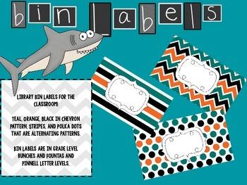 Teal, Black, and Orange Classroom Labels