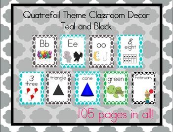 Teal and Black Quatrefoil Theme Classroom Bundle, Print Font