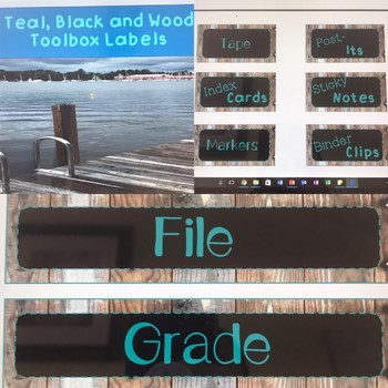 Teal, Black and Wood Toolbox Labels