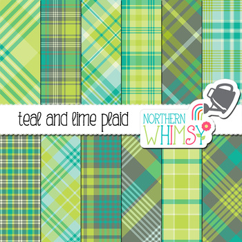 Teal, Blue, Lime Green, and Gray Plaid Digital Paper