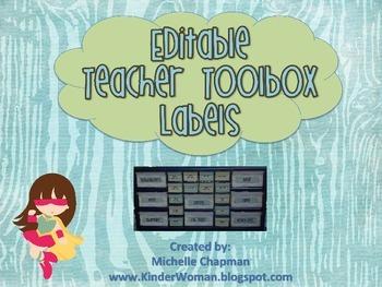 Teal Brown Wood Grain Teacher Toolbox Labels - Organization