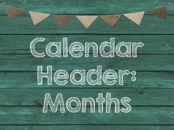 Teal & Burlap Class Decor Calendar Set