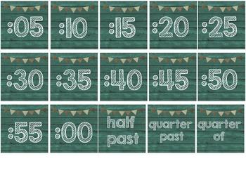 Teal & Burlap Class Decor Clock Numbers