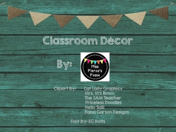 Teal & Burlap Class Decor Daily Schedule Cards