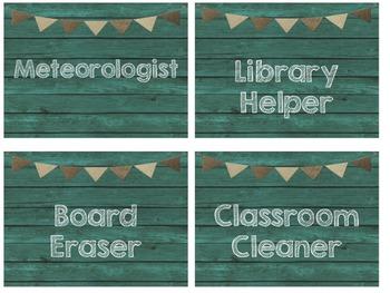 Teal & Burlap Class Decor Job Cards