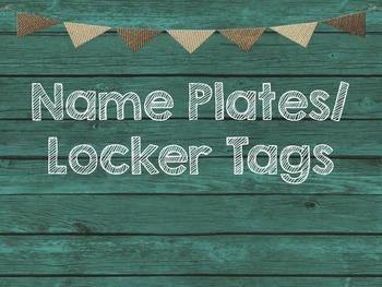 Teal & Burlap Class Decor Name Plates-Locker Tags