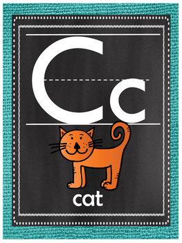 Teal Burlap and Chalkboard Alphabet Posters