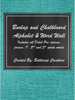 Teal Burlap and Chalkboard Alphabet and Word Wall